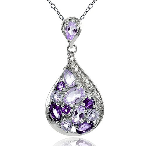 - Sterling Silver African Amethyst, Amethyst and White Topaz Tonal Teardrop Necklace