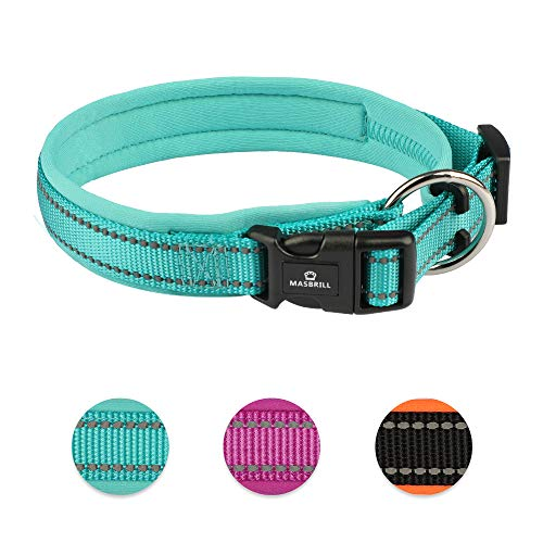 MASBRILL Waterproof Dog Collar Soft Padded with Buckle Adjustable Safety Nylon Puppy Collars Reflective Neoprene Padded…
