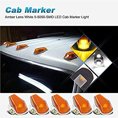 5pcs Top Clearance Cab Marker Roof Running Light Amber Cover Lens 15442 + 5050 T10 194 LED Bulbs Replacement For 1973-1997 Ford F150 F250 F350 Pickup Super Duty Trucks (Amber Cover & White Bulbs): Automotive