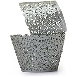 Sorive ® Pack of 100ps Grey Filigree Little Vine Lace Laser Cut Cupcake Wrapper Liner Baking Cup Muffin Case Trays Wedding Birthday Party Decoration SRI0682