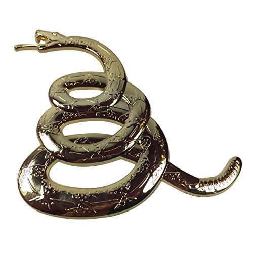 pokerweights Ultra Premium Gadsden Snake 3D Metal Auto Emblem Don\'t Tread on me Gold