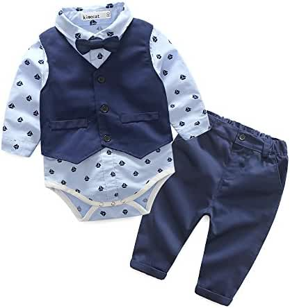 Baby Blue Suits Set Long Sleeve Casual Onesie Dress Shirts+Vest+BowTie+Pants Outfits