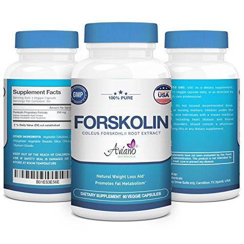 100% Pure Premium Grade Forskolin Extract - Supplement for Men & Women for Weight Loss Support by Aviano Botanicals Cyclic Amp