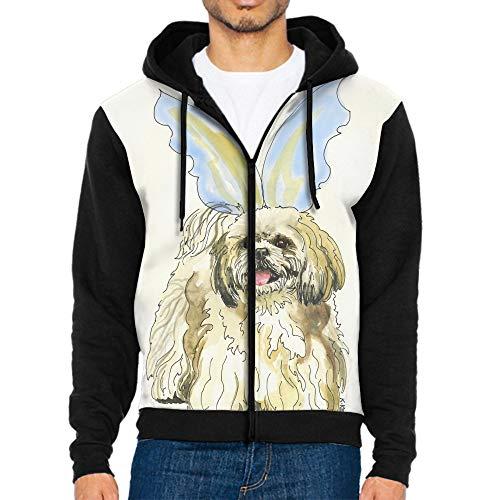 (Khope Men Hoodies-Shih Tzu with Wings Printed Long Sleeve Pocket Drawstring Sweatshirt with Pocket)