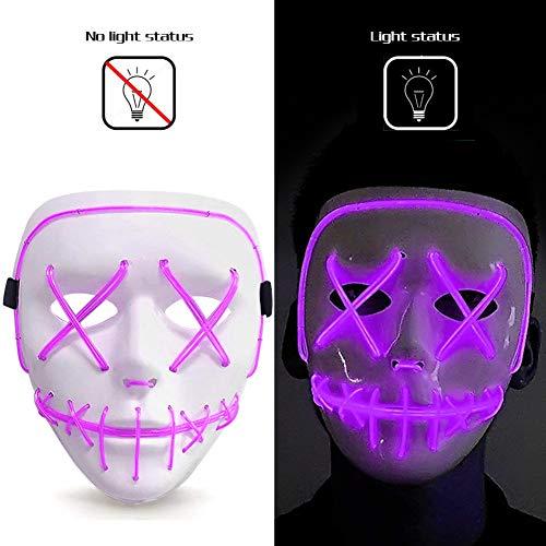 FUTUREPLUSX Halloween Purple LED Mask, Purge Mask Light Up Mask Glow Mask Halloween Mask