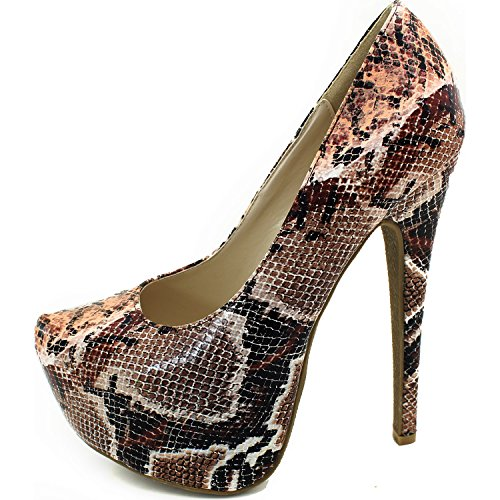 Platform Fashion Shoes Brown Women's Pointed High Heel Snake Sexy Stiletto Hidden Extreme Toe Pump High YEqFgER