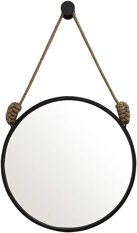 Specchio da Toeletta in Metallo con Rubinetto,Specchio Rotondo da Parete per Bagno,Stile Vintage Grunge,per Bar Bagno Camera da Letto Hotel Servizi Igienici,Black