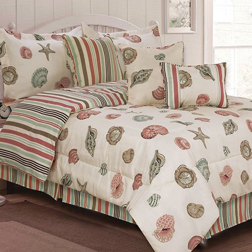 Seashells, Beach, Coral, Nautical King Comforter Set