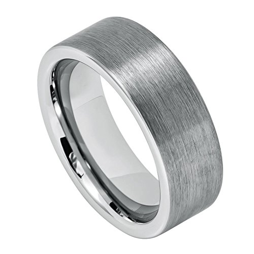 Brushed Heart Ring (Toso Web Men's 8mm Flat Pipe Cut Style with Brushed Center Ring - s8)