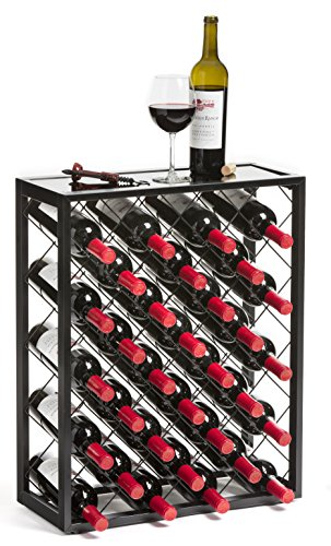 Mango Steam 32 Bottle Wine Rack with Glass Table Top, Black (Floor Rack Metal Wine)
