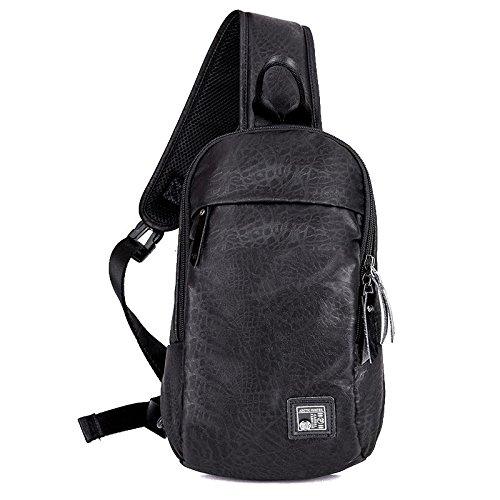 ZXJ Mochila Paño de Oxford Camuflaje Negocios Al aire libre Paseo A pie Escalada en roca Bolsa de mensajero Bolsa de hombro Paquete de pecho, Gray black