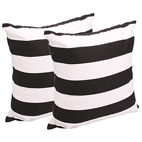 Leaveland White And Black Stripe Set of 2 18x18 Inch Cotton Linen Square Throw Pillow Case Decorative Durable Cushion Slipcover Home Decor Sofa Standard Size Accent Pillowcase (Black And White Striped Chaise Lounge Cushions)