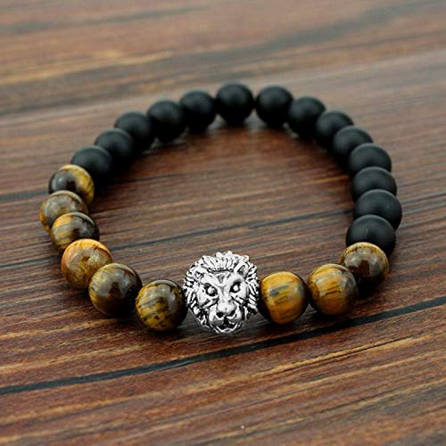 Mikash Tigers Eye Beaded Charm Stretch Bracelet Agate Lion Lucky Man Bracelets | Model BRCLT - 37029 | XL=7.5039