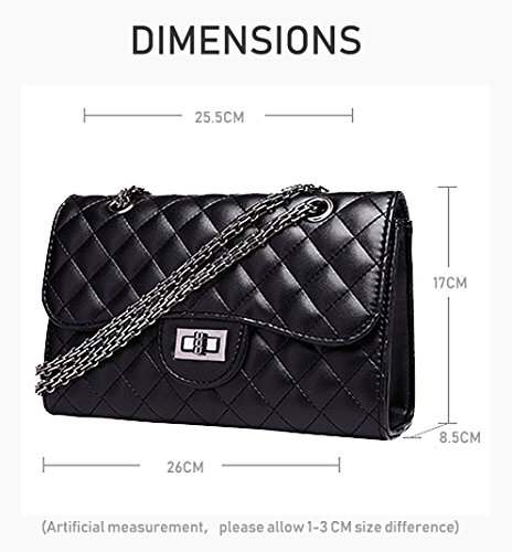 Quilted Office HPASS Purse Crossbody Black Bag Metal Strap Shoulder Chain Ladies With Classic Women's q04w0TX