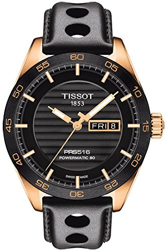 - Tissot PRS 516 Powermatic 80 Mens Automatic Watch - Analog Black Face with Second Hand Day Date Sapphire Crystal 80 Hour Power Reserve Watch - Swiss Made Leather Band Rose Gold Watch T1004303605100