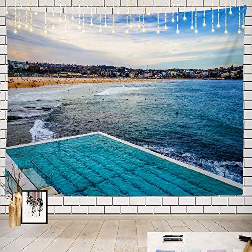 Batmerry Beach Tapestry, Beach Landscape Swimming Australia Picnic Mat Beach Towel Wall Art Decoration for Bedroom Living Room Dorm