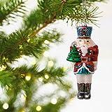 Traditional Nutcracker Blown Glass Ornament