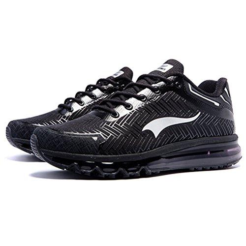 Männer AIR Cushion Laufschuhe Outdoor Sportschuhe Light Jogging Sneaker Schwarz / Slivery