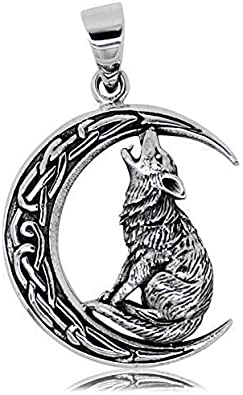 Pendentif arbre de vie Wicca Pagan en argent sterling 925 avec lune et pentagramme