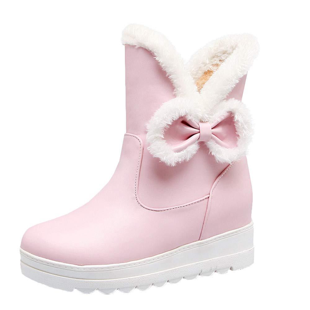 Hunzed Women Shoes Women's Plus Velvet Leather Casual Bow Flat Short Snow Boots (Pink, 5.5)