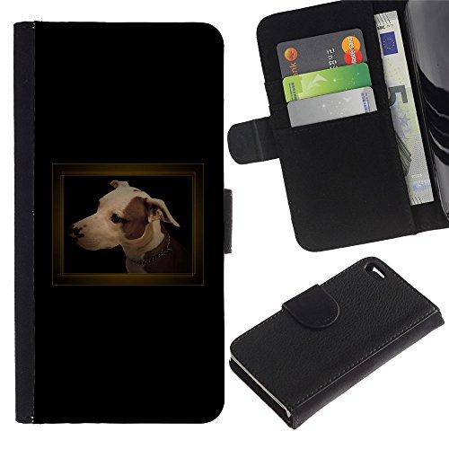 Billetera de Cuero Caso Titular de la tarjeta Carcasa Funda para Apple Iphone 4 / 4S / Small Black Dachshund Puppy Dog / STRONG
