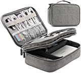 BAONA Double Layer Travel Universal Cable Organizer Cases Electronics Accessories Storage Bag for Various USB Drive, Charger, Cable, Hard Drive Disk, Power Bank, Phone and Ipad mini (Gray)