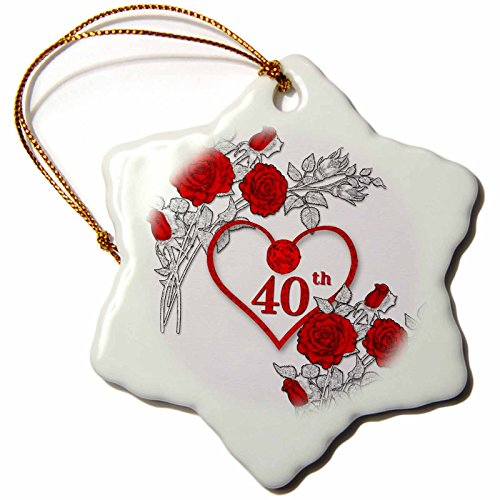 Anniversary Ruby Rose Wedding (3dRose Doreen Erhardt Wedding Collection - Red Heart and Roses 40th Ruby Anniversary for Wedding or Business - 3 inch Snowflake Porcelain Ornament (orn_264586_1))