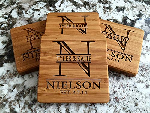 Wedding Personalized Wedding Coasters - Personalized Wedding Gifts and Bridal Shower Gifts - Monogram Wood Coasters for Drinks (Set of 4, Nielson Design)