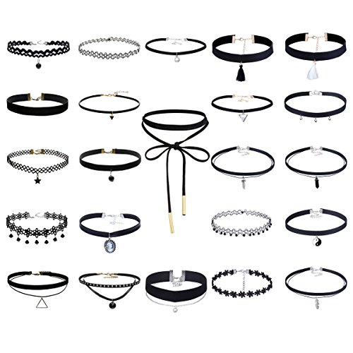 Floweralight 23Pcs Multiple Collar Chokers Necklace Length Adjustable Gothic for Women by Floweralight