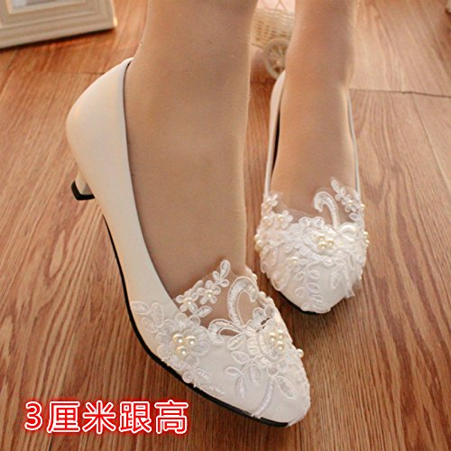 Xie les chaussures de la mariage de des femmes/Le Printemps et l'été/la dame d'honneur et la mariée/les tatouage–Faites à main/La Fleur de la perle du cordon/Le Banquet et la robe de parti/personali Plat 3jToaJ