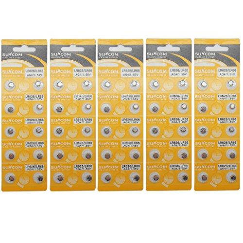 SUNCOM (50 pcs) AG4 Alkaline 1.5V Button Cell Battery Single Use LR626 LR66 SR626 V377 GP377 606 Watch Toys Remotes Cameras