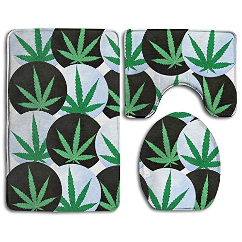(3 Piece Super Cozy Memory Foam Bathroom Rug Shag Non Slip Rubber Backing Quick Dry - Water Absorbent Bathroom Rug Carpet Contour Mat & Lid Cover Marijuana Leaf Weed Black)