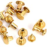 Round Flat Head Chicago Screws Buttons for Leather Crafting, 1/4 Inches (6mm) Repair Screw Post Fastener, Metal Nail Rivet Studs, Gold, 30 Sets, Diameter 5/16 Inches (8mm)