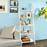 SoBuy FRG61-W, Modern 5 Tiers Ladder Shelf Bookcase, Wood Storage Display Shelving, Wall Shelf, W64xD39xH180cm