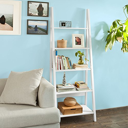 SoBuy FRG61-W, Modern 5 Tiers Ladder Shelf Bookcase, Wood Storage Display Shelving, Wall Shelf, W64xD39xH180cm by SoBuy