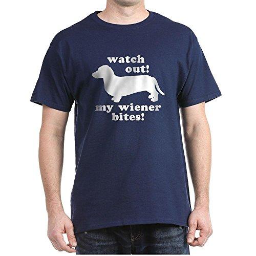 (CafePress My Wiener Bites Black T-Shirt 100% Cotton T-Shirt)