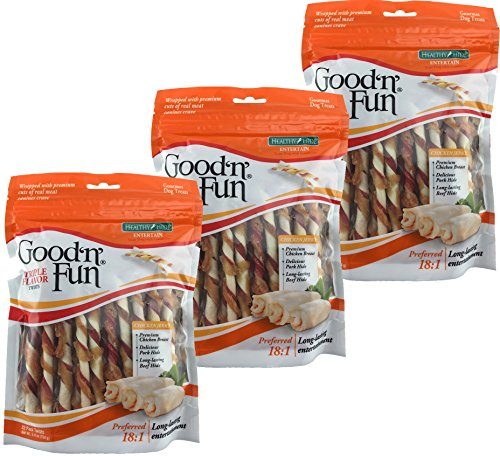 Fun Twist - Good 'n' Fun Triple Flavor Twist Chews for Dogs, 22-Count Bags, Pack of 3