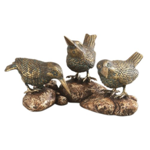 Three Sparrows on a Rock Bird Figurine