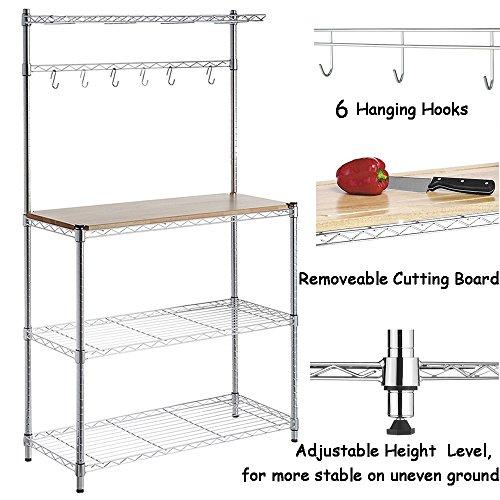 FCH 4-Tier Baker's Rack Microwave Oven Rack with Storage Kitchen Adjustable Storage Shelves by FCH