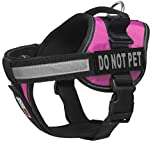Dogline Vest Harness for Dogs and 2 Removable Do Not Pet Patches, Small/18'' to 25'', Pink