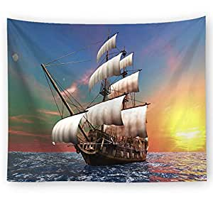Multipurpose Rectangle Tapestry Ocean Landscape Natural Wall Hanging Sailboat Home Decoration Accessories Blanket