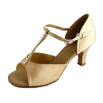 Danzcue Womens T-Strap Rhinestone Salsa Tango Ballroom Latin Dance Shoes   Ballet & Dance