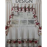 3pc Kitchen Cafe Apple Curtain Tier Swag Set Window Valance Decor