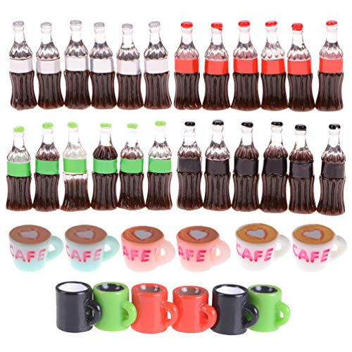 Qingsi 36 Pcs Mini Resin Coffee Cup Drink Bottle Miniature Fairy Garden  Dollhouse Decoration Food Drink Home Tableware Decors