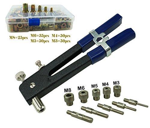- Muzata Heavy Duty Blind Rivet Nut Kit Set, Riveter Tool, Rivet Nut Gun, Thread Hand Riveter, Rivet Gun, Riveting Tools 210PCS Metric Rivet Nuts Included M3 M4 M5 M6 M8