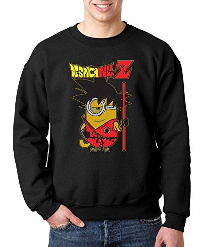 New Way 615 - Crewneck DESPICABALL Z DRAGONBALL PARODY Unisex Pullover Sweatshirt Large Black (Minion Sweatshirt Mens)
