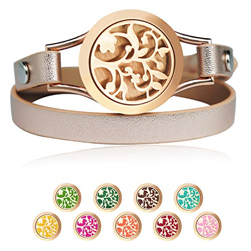 JANE STONE Essential Oil Diffuser Bracelets Aromatherapy Bracelet Rose Gold Genuine Leather Jewelry for Women with 9 Color Washable Pads