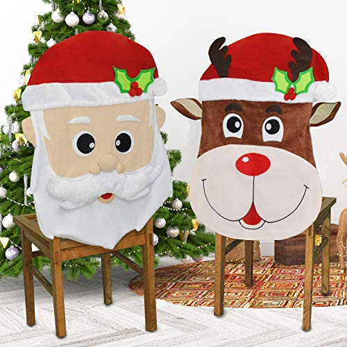 JOYIN Christmas Santa and Reindeer Christmas Dining Chair Slip Covers Decorations Ornaments Set for Xmas Indoor Décor, Party Favor Supplies, Restaurant Holiday Festival Party Decor