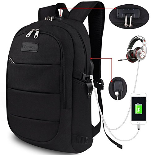 b9755a96e177 Tzowla Business Laptop Backpack Water Resistant Anti-theft College Backpack  with USB Charging Port and