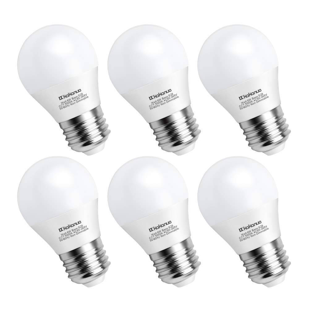 Kakanuo A15 LED Bulb 60 Watts, A15/G45 Daylight White 5000K 6 Watt Equivalent E26 Medium Base, 600 Lumens for Home Lighting Decorative and Refrigerator, Non-Dimmable, 6 Pack